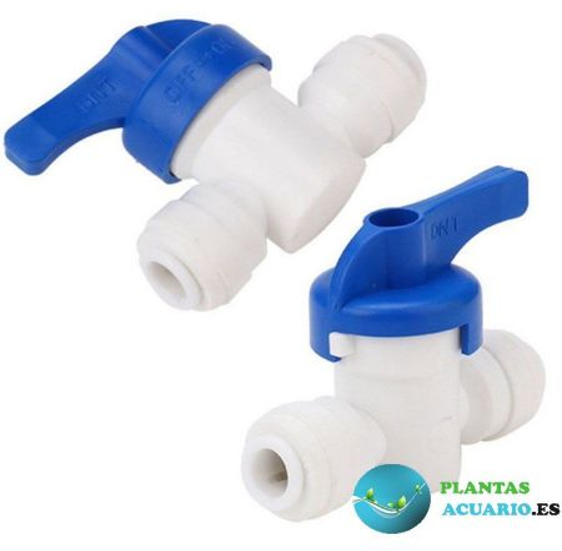 Válvula llave de cierre para osmosis o acuario, para tubos de 1/7 o 4/6mm